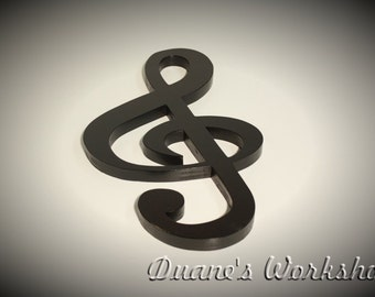 """15"""" treble clef, decoration, home decor, musical note decoration, wooden music note, black,"""