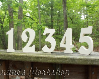 """4"""" Wedding Table Numbers, Wooden, Wedding reception, Painted"""