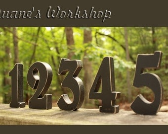 """5"""" Wedding Table Numbers, Wooden, Wedding reception, Painted"""