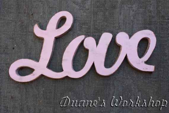 Love Sign, DIY wedding decoration, Wall hanging, cottage, wooden letters, home decor, wood sign, Housewares, Wall Decor