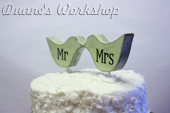 mr and mrs Love Bird cake topper, custom, love birds, party favor, shower favors, wedding, home decor, spring decor