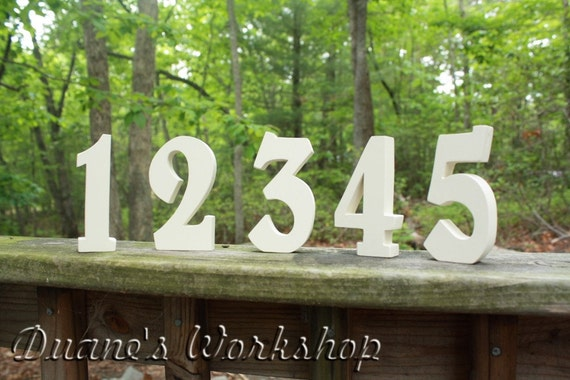 """6"""" Wedding Table Numbers, Wooden, Wedding reception, Painted"""