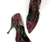 Size 6.5 A Vintage 50s 60s Floral Silk High Heels