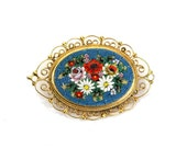 Vintage '50s / '60s Italian Micromosaic Pin / Brooch, Floral Glass