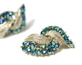 Vintage 50s Turquoise & Gold Rhinestone Earrings