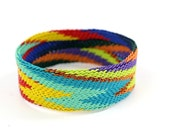 South African Bangle Bracelet, Bright Chevrons, Telephone Wire