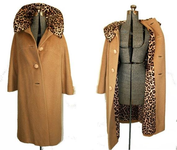 Vintage '50s / '60s Leopard Fur & Camel Wool Coat M / L