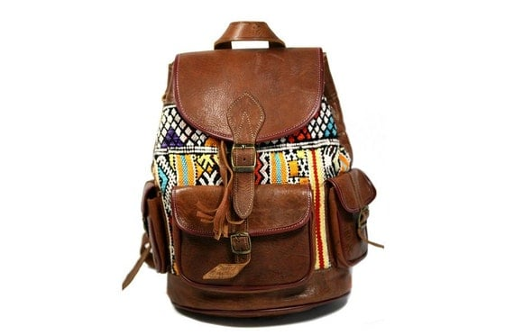 60s / '70s Tribal Pattern Leather Backpack