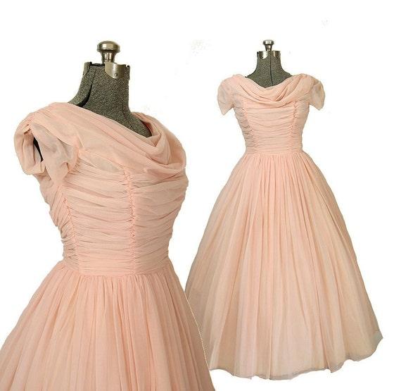 1950s Vintage Pink Chiffon Wedding Dress, Bridal M / L 10 12 14