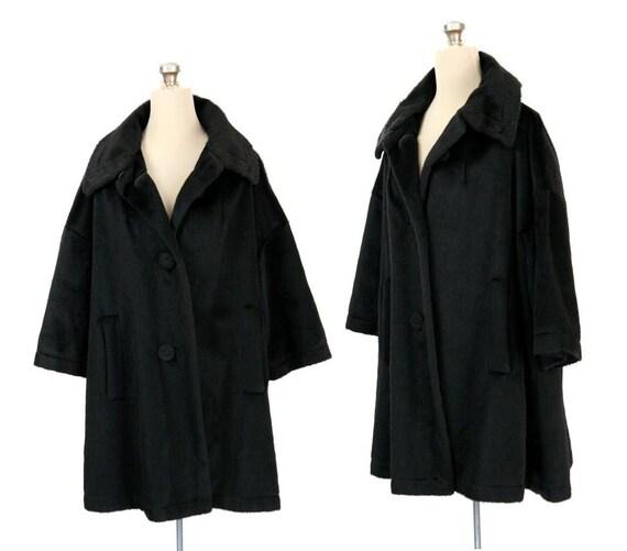 Vintage '60s Faux Fur Swing Coat, Black S / M / L