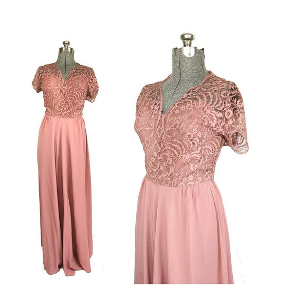 50s Long Party Dress, Pink Satin & Lace L / XL