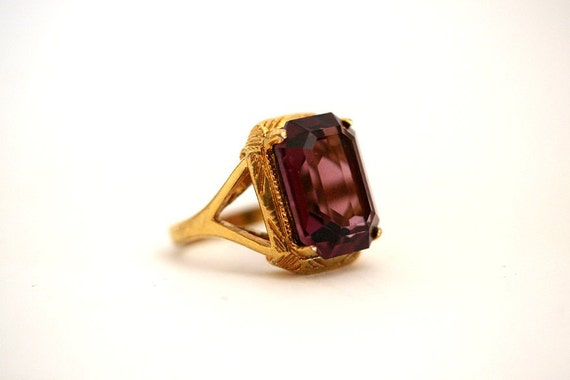 """Large Victorian Amethyst Glass Ring, Yellow Gold Plated size 8.25 8 1/4"""""""