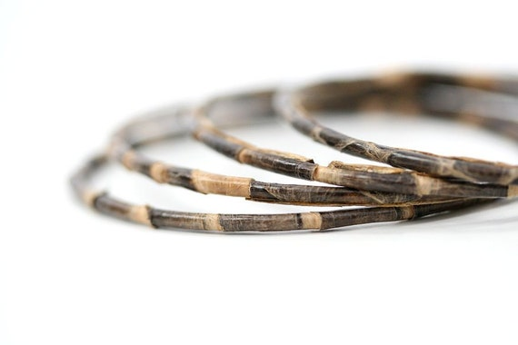 Vintage Snakeskin Bangles Set, Brown