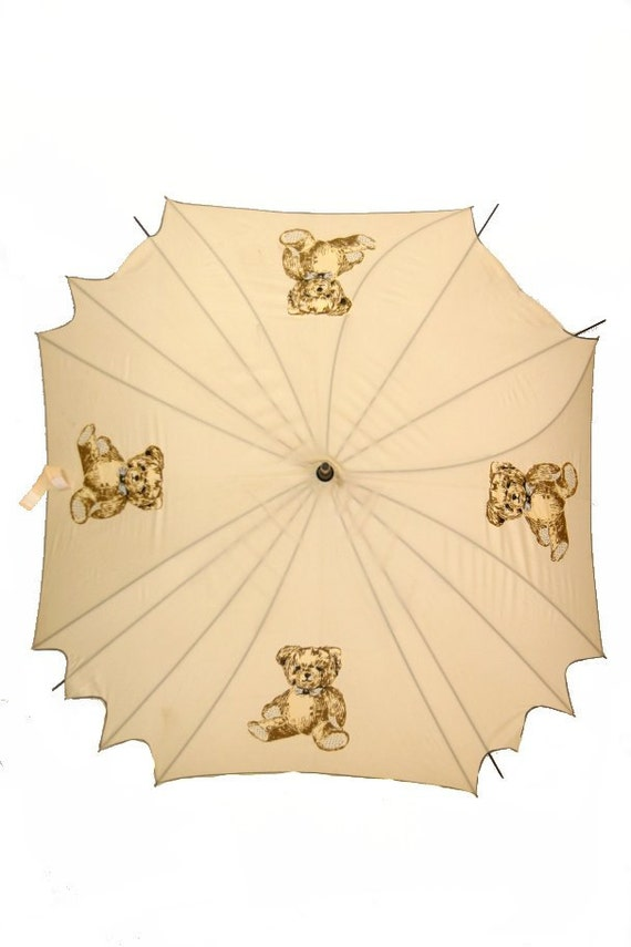 Vintage Teddy Bear Print Umbrella, Wooden Handle