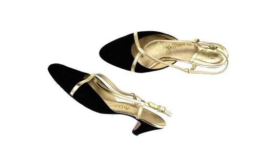 Size 10 Vintage Johansen Sling-Back Kitten Heels Black Suede / Gold Metallic Leather
