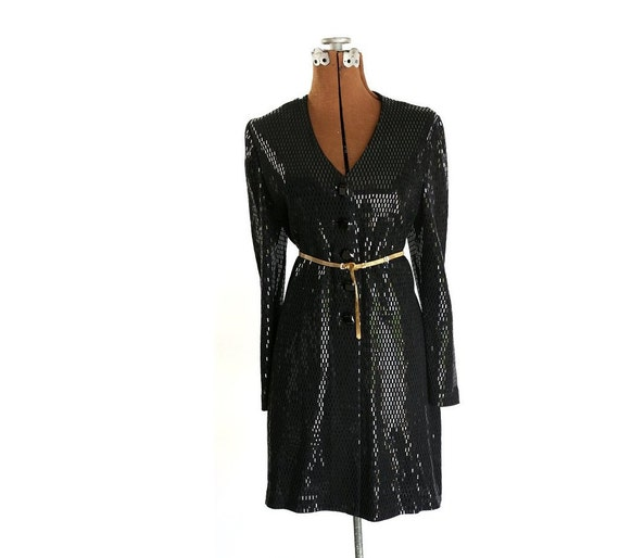 Authentic Vintage St. Jean Evening Jacket / Dress, Black Sequined S / M / L 10 Designer