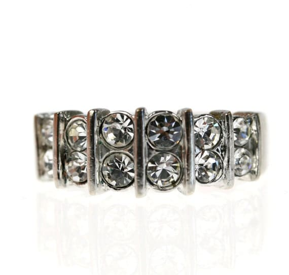Vintage Rhinestone Cocktail Ring, Silver size 9