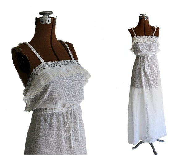 Authentic Vintage Chloe Nightgown, Long White Polka Dots, 1970s Small, Designer