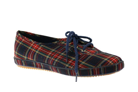 Vintage Grasshoppers Lace Up Sneakers, Red Plaid 8.5 W