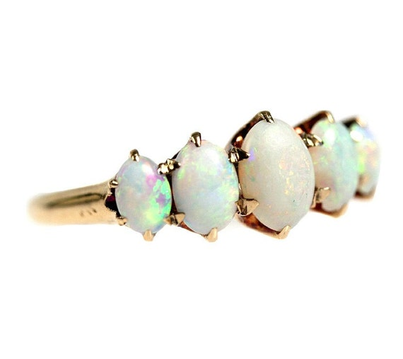 Antique 14k Gold Victorian Opal Ring, Size 6.75 Engagement / Wedding Band