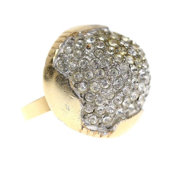 1960s Rhinestone Pave Dome Cocktail Ring, size 6.5