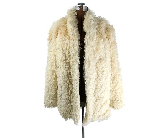 60s / 70s Vintage Mongolian Lamb Fur Jacket, L / XL