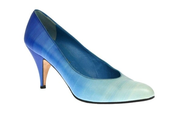 Size 7 Vintage Ombre Blue Leather High Heels, Bridal / Wedding