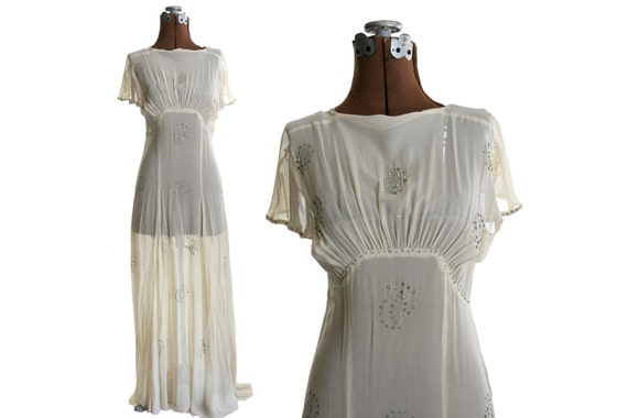 Vintage 1930s Silk Chiffon Wedding Dress with Rhinestones, Short Sleeves XS / S 25% off sale