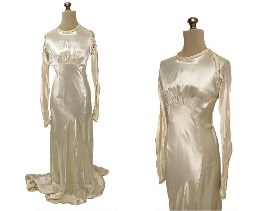 Classic Wedding Dress Satin: Vintage 1930s Bias Satin Wedding Dress Long Sleeves Ivory S