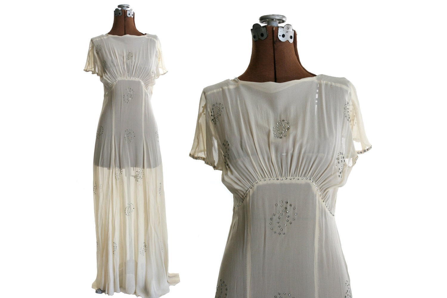 Vintage 1930s Silk Chiffon Wedding Dress With Rhinestones