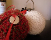 Set of Red, Green & White Christmas Ornaments