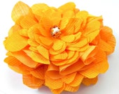 Orange Flower Hair Fascinator: gorgeous tangerine orange fabric hair blossom with silver and orange glass bead centre