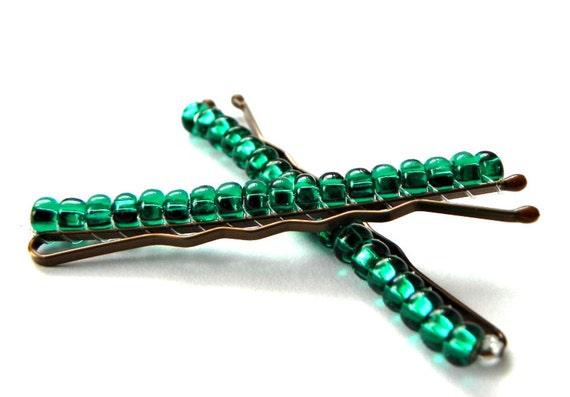 beaded bobby pins glitzy emerald green beaded bobby pins