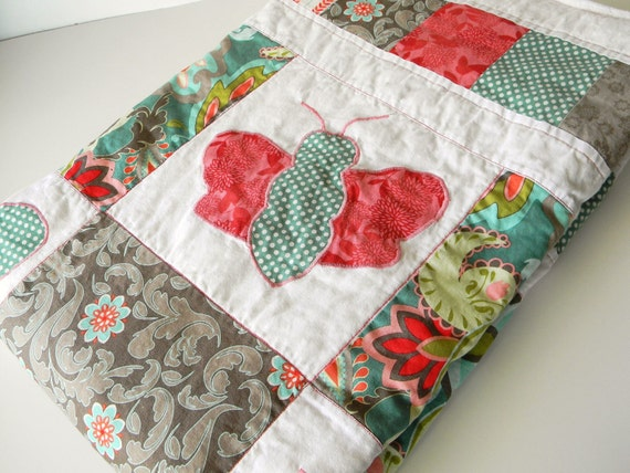 Handmade, Butterfly Quilt with Minky Back Baby Girl