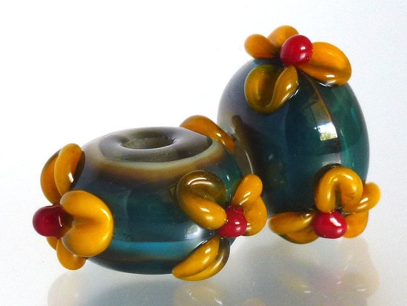 Handmade Lampwork Green Glass Beads Earring Pair with Goldenrod Orange Yellow Flowers - SRA Made in Hawaii Free Shipping