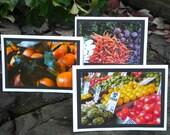 Three (3) Handmade Phototaphy Greeting Cards- Produce and Fruit