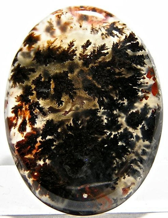 Moss Agate Plume Agate Black Dendrites Oval Cabochon