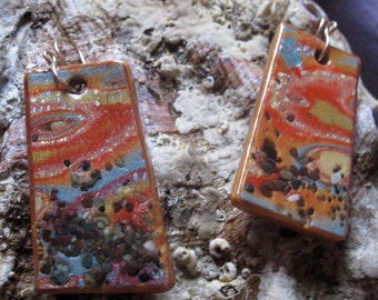 Vibrant colorful rectangular polymer clay earrings - Sunset