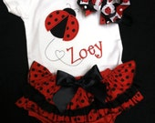 Custom Embroidered Lady Bug onesie ruffle butt and bow with TWO options