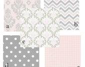 Custom 2 piece Baby Bedding Crib Set (pink and gray)