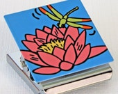 Waterlily and Dragonfly Metal Clip Magnet
