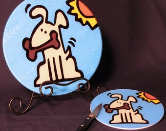 Dog Tempered Glass Cutting Board - 2 Sizes Available