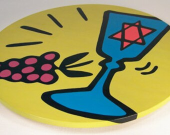 """Kiddush Cup - Judaica 16"""" Wooden Lazy Susan. Hand-painted on white birch."""