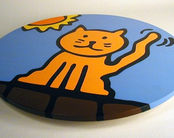 """Cat 16""""  Wooden Lazy Susan. Hand-painted on white birch."""