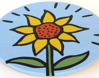 """Sunflower 16""""  Wooden Lazy Susan. Hand-painted on white birch."""