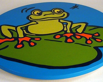 """Frog 16""""  Wooden Lazy Susan. Hand-painted on white birch."""