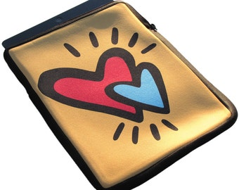 Hearts iPad 1, 2 and 3 Neoprene Zippered Case - 50% off iPad Case Sale!