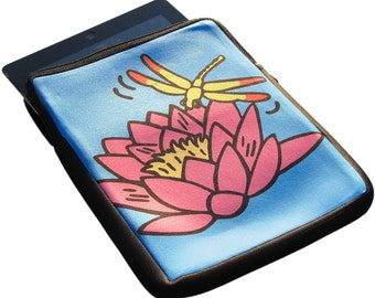 Waterlily & Dragonfly iPad 1, 2 and 3 Neoprene Zippered Case - 50% Off iPad Case Sale