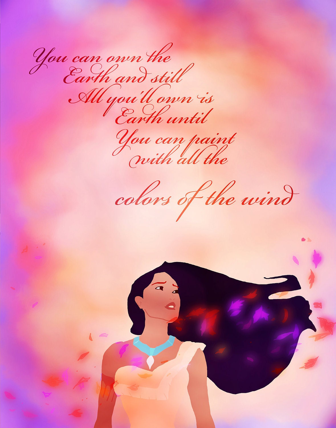 Pocahontas colors of the wind digital by studiomarshallarts