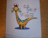 """Embroidered Dish Towel   """"Eat Your Veggies"""" Dinosaur with Coordinating Trim"""